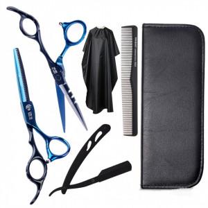 Set kit frizerie coafor Belagio cu foarfeca tuns si filat albastru cu negru