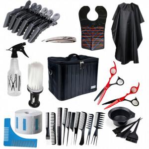 Set kit frizerie coafor foarfeca tuns filat pelerina vopsit piepteni geanta brici metalic NEOO