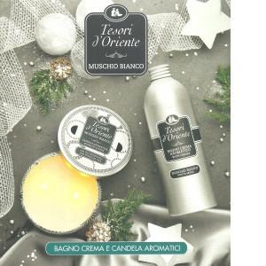 Tesori d'oriente set cadou cremă de baie și lumânare parfumată mosc alb
