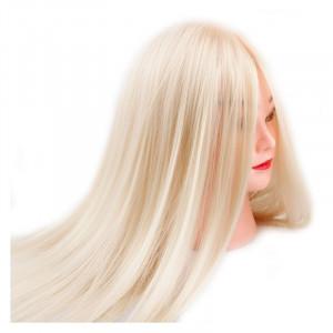 Cap practica manechin salon frizerie coafor Natural 100% 55 cm Blond Deschis