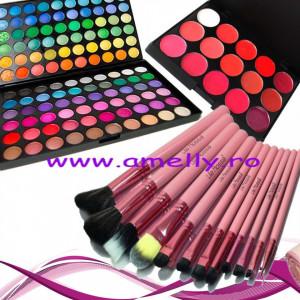 Kit machiaj trusa 120 culori + 12 pensule lilla rossa + paleta rujuri contur