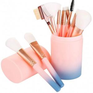 Set 12 pensule machiaj makeup profesionale cu suport tub curcubeu