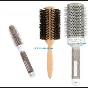 Set 3 perii profesionale coafor par natural kit piepteni frizerie