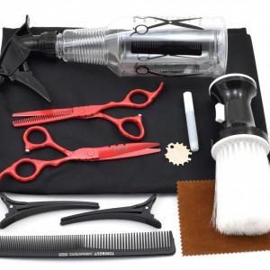 Set frizerie coafor Ardette model Opax05 cu 10 piese cu foarfeca de tuns si filat, pelerina, pamatuf, pulverizator, piepten