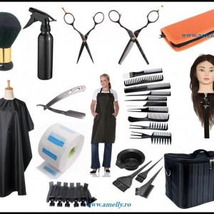 Set kit frizerie coafor complet BELLE cu geanta echipata cap practica manechin si foarfeci tuns filat