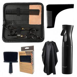 Set complet kit ustensite accesorii frizerie coafor NECK cu foarfeca de tuns si filat