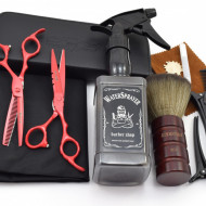 Set frizerie coafor Ardette model Opax01 cu 11 piese cu foarfeca de tuns si filat, pelerina, pamatuf, pulverizator, piepten si etui