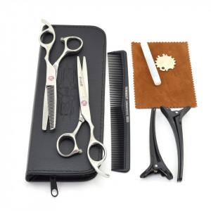 Set frizerie coafor Ardette model Opax02 cu 11 piese cu foarfeca de tuns si filat, pelerina, pamatuf, pulverizator, piepten si etui