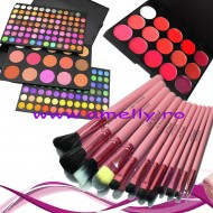 Set machiaj trusa profesionala 183 culori + 12 pensule lilla rossa + 15 nuante ruj