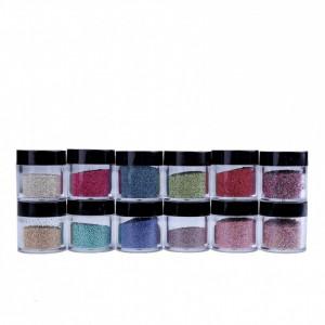 Caviar pentru decorarea unghiilor false set 12 bucati - 10 g