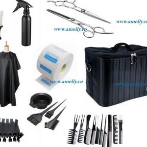 Kit frizerie coafor cu geanta echipata CREOLLA produse scoala frizeri