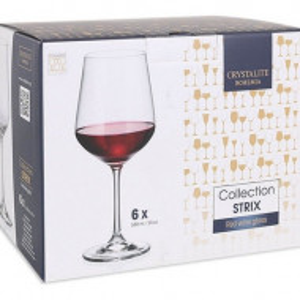 Set 6 pahare vin rosu Bohemia Strix, cristalin, 580 ml
