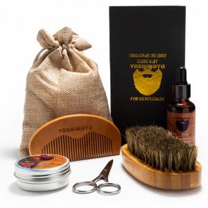 Set barber pentru ingrijire barba barbati cu ulei foarfeca pentru mustata