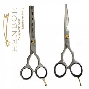 Set complet frizerie coafor BOSTON cu foarfeca tuns filat Henbor Italia Golden Line