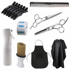 Set complet kit ustensite accesorii frizerie coafor cu foarfeca de tuns si filat SF04