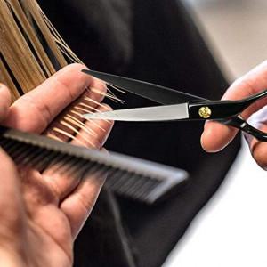 """Set foarfeca de tuns si filat negru Baroc marime 6"""" si pieptan carbon clame pentru frizerie salon"""