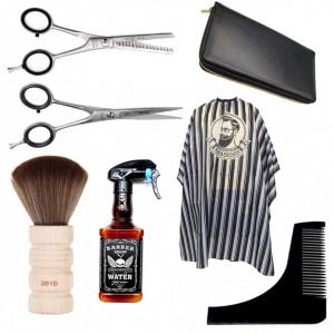Set frizerie barber shop Supreme cu foarfeca de tuns Henbor pulverizator Whisky pelerina cu dungi