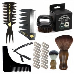Set pentru ingrijire barbati BarberPro cu brici clasic metalic pamatuf piepteni perie barba
