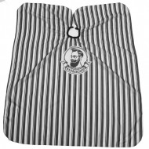 Pelerina manta pentru frizerie coafor lunga cu elastic barber shop neagra cu dungi