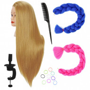 Set cap practica manechin Laura cu extensii colorate pentru exersat coafuri impletituri salon frizerie