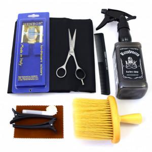 Set frizerie coafor Henbor model Ario01, 8 piese, cu foarfeca de tuns, pelerina, pamatuf, pulverizator, piepten
