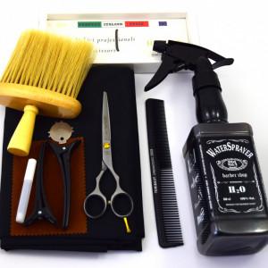 Set frizerie coafor Henbor model Ario02, 8 piese, cu foarfeca de tuns, pelerina, pamatuf, pulverizator, piepten