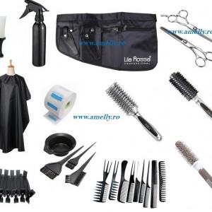 Set frizerie kit coafor complet cu sort foarfeca perii ceramice DELMAX