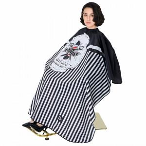 Pelerina manta pentru frizerie coafor lunga cu elastic barber shop neagra cu imprimeu