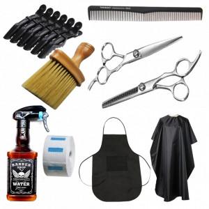 Set kit complet produse frizerie coafor cu foarfece tuns si filat pulverizator sticla barber SF03