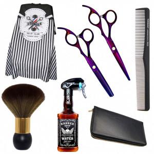 Set kit frizerie coafor complet Cospa cu foarfeca tuns pulverizator Whisky si manta barber