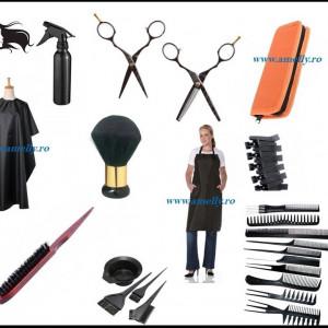 Set kit frizerie coafor COMPLET cu foarfeca profesionala tuns filat CAMELLIA