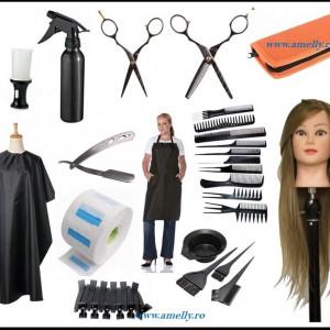 Set kit frizerie coafor complet JASMIN cu cap practica blond 80% natural brici foarfeca tuns si filat