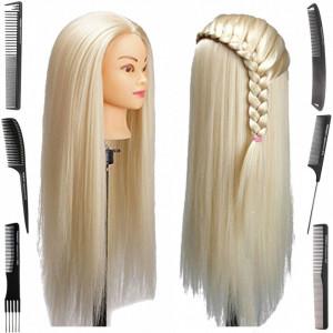 Cap practica manechin salon frizerie coafor Lung Des Sintetic 60cm Blond + 6 Piepteni carbon