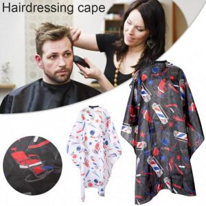 Pelerina manta pentru frizerie coafor lunga cu elastic barber shop neagra cu imprimeu multicolor