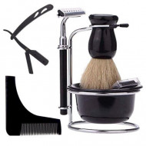 Set complet ingrijire barba barber cu brici otel inoxidabil pamatuf aparat barbierit ras
