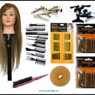 Set kit frizerie coafor complet MAGIC BLOND cu manechin salon agrafe ace de coc si agrafe