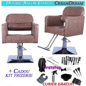 Kit dotare salon 2 scaune frizerie coafor dotari mobilier saloane CreamDream