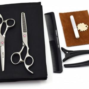 Set foarfece de tuns si filat Ardette model Opax09 cu 7 piese manta, clipsuri si piepten pentru frizerie