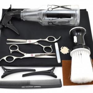 Set frizerie coafor Ardette model Opax06 cu 10 piese cu foarfeca de tuns si filat, pelerina, pamatuf, pulverizator, piepten