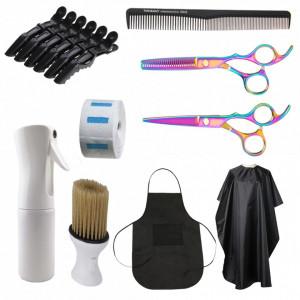 Set kit ustensite accesorii frizerie coafor cu foarfeca de tuns si filat cameleon SF01