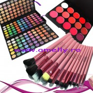 Set make up trusa 180 culori + 12 pensule roz + 15 nuante ruj buze