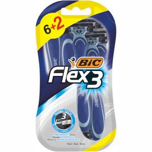 Aparat de ras BIC Flex3, Barbati, 8 buc unica folosinta