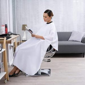 Pelerina manta pentru frizerie coafor lunga impermeabila cu elastic barber shop alba