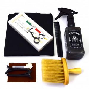Set frizerie coafor Henbor model Ario04, 8 piese, cu foarfeca de tuns, pelerina, pamatuf, pulverizator, piepten