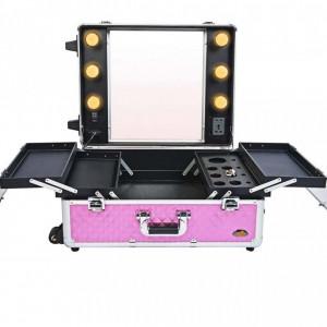 Statie profesionala valiza de make-up machiaj Roz