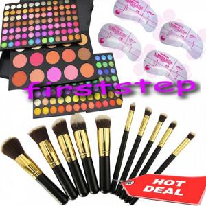Trusa machiaj 183 culori + 10 pensule kabuki + cadou