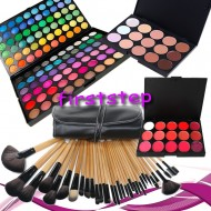Trusa machiaj MAC farduri 120 culori + 24 pensule make up + fond de ten + ruj