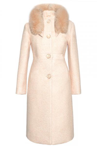 Palton crem cu blana naturala