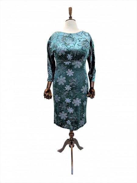 Rochie de zi din catifea verde