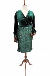 Rochie verde din catifea si paiete Edith